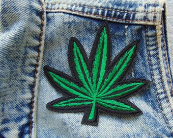Cannabis Leaf Sew / Iron on Embroidery Patch Green & Black 4.20 Weed Smoker Badge for Custom Embroidered Jackets Jeans T Shirts UK