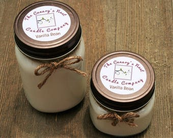 Vanilla Bean Scented Soy Candle | Mason Jar Candles, Soy Candles, Vanilla Candles, Handmade Candles, Personalized Candles, Girlfriend Candle