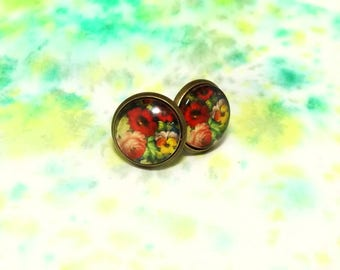 Floral stud earrings - Picture stud earrings - Glass stud earrings - Bright stud earrings - Bright floral studs - Flower post earrings
