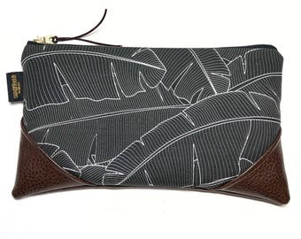 Large Black Banana Leaf Zipper Clutch / Zip Pouch with Zipper Pull or Leather Wristlet Strap