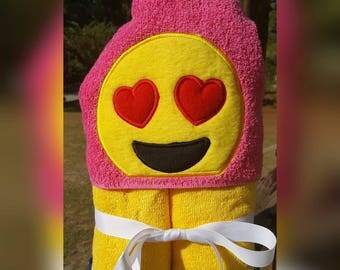Emoji Heart Hooded Towel with FREE Embroidered Name