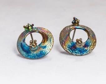 UFO Orbits. Titaniun welded earrings. 2017