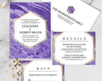 Ultraviolet Wedding Invitation Set / Purple Gemstone, Violet Marble, Agate, Purple & Gold Geometric ▷Printed Invitations {or} Printable