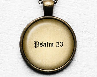 Psalm 23 The Lord's Prayer King James Version Bible Pendant and Necklace