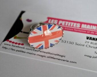 ring cabochon adjustable flag English union jack 18 * 25mm