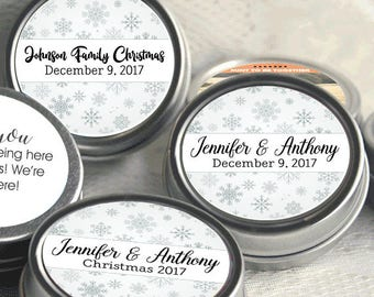 Personalized Christmas Mint Tins, Corporate Christmas Favors, Wedding Favors, Mint Favor Tins -  Silver Snowflakes - Set of 12 - Party Ideas
