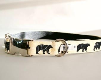 Country Mama Bear Dog Collar - Rustic Black Bear Dog Collar - Spring dog collar - Country collar - Woodland Dog Collar - Dog Collar
