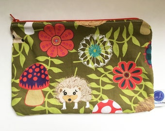 Hedgehog In My Garden Zipper Pouch with Floral Print Purple Leaves Liner
