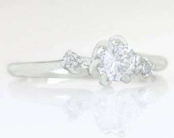 Designer Estate .48ct Genuine Diamond 14K White Gold Engagement Ring