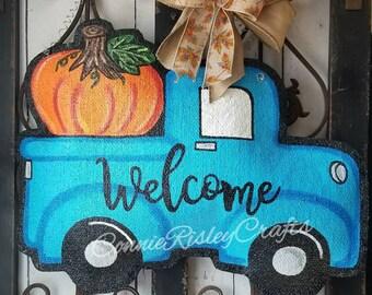 Vintage Style Truck with Pumpkin. Burlap Door Hanger