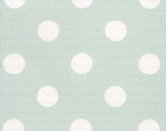 Au maison oilcloth dots giant turquoise mint coated cotton