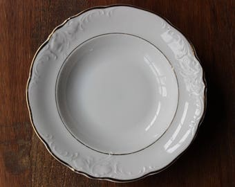 Vintage WAWEL CASA ORO Rim Soup Bowl White, Embossed Scrolls, Scalloped