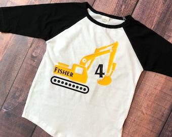 Tractor birthday, boys tractor shirt, excavator shirt, birthday excavator, tractor party, excavator party, boys birthday shirt