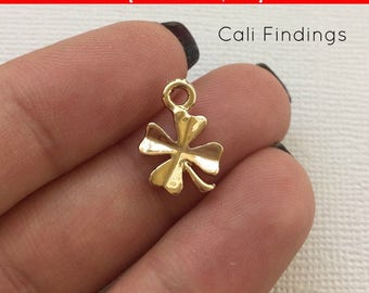 SALE 50% OFF 3pc- Gold Tone Double Sided Clover Charm, Four Leaf Clover Charm, Gold Clover, Clover Pendant, Clover Connector Clover