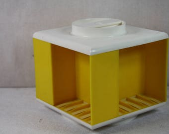 retro cassette tape holder case, vintage yellow cassette tape holder box,cassette tape storage.music cassette caroussel