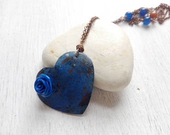 Long necklace, necklace with heart, necklace with Rose, blue necklace, gift for her, anniversary gift, Mother's Day, friend Gift