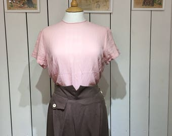 Original 1940's Sweet blush pink Crepe blouse - Lovely cutwork to the front