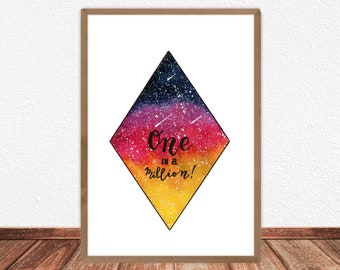 Galaxy one in a million Printable, Illustration, Poster