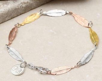 Personalised Sterling Silver And Gold Feather Bracelet
