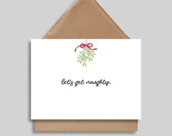Let's Get Naughty, Christmas Card, Holiday Card, Funny Greeting Card, Christmas