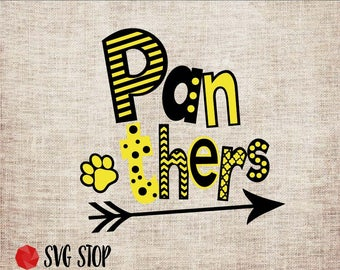 Panthers Fun Font Design SVG, DXF, PNG, Jpg, Eps Cuttable and Printable Clipart Designs for Silhouette, Cricut, Sublimation Printing