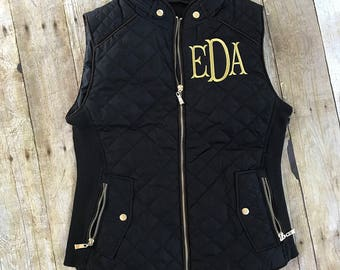 Monogrammed Quilted Puffy Vest, Puffer Vest, Sleeveless Jacket, Coat, Gift for Women
