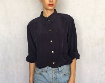 Vintage Midnight Blue Cupro Button Up Blouse