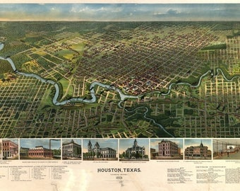 Houston TX Panoramic Map dated 1891. This print is a wonderful wall decoration for Den, Office, Man Cave or any wall.