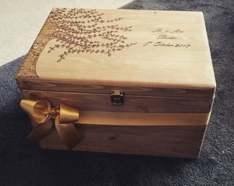 Bespoke, extra large wooden hand burned and lined wedding memory box .