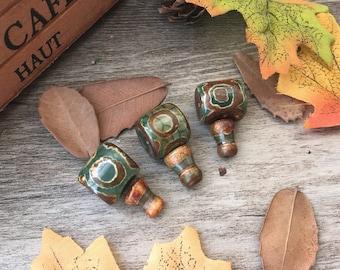 3pcs Tibetan Agate Green Eye Guru Beads DIY Stone Charms Loose  Beads Supplier For Handcrafts Buddha Necklace Mala Jewelry Findings
