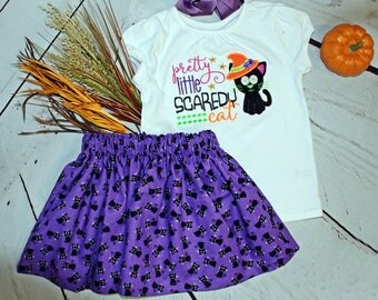 Girls Halloween Shirt- Pretty Little Scaredy Cat- Halloween Cat- Toddler Girls- Halloween outfit- Black Cat Skirt- 6m 12m 18m 2t 3t 4t 5 6 8