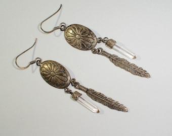 Vintage 925 Sterling Silver Hook Earrings w/Feather & Quartz Crystal Dangles
