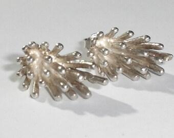 925 Sterling Silver 3-D Spiky Cluster Tube Post Earrings, Interesting!