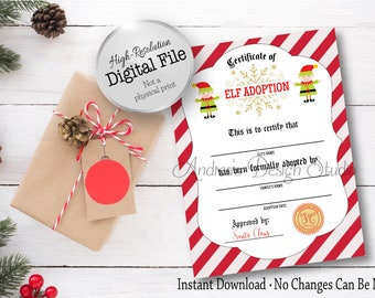 Adoption certificate etsy elf adoption certificate adopt an elf holiday printable christmas printable christmas tradition yadclub Gallery