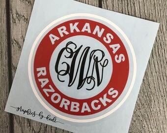 Arkansas Monogrammed Decal - Arkansas Razorback - Sticker