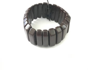Vintage Chocolate Bakelite Stretch Bracelet