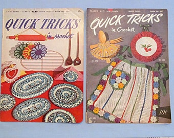 """Two Booklets of Crochet Patterns """"Quick Tricks"""",  Cute Novelty Bazaar Items 1950-52"""