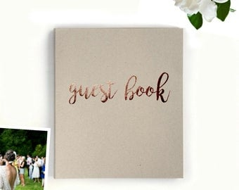 """Fast Shipping > Photo Guest Book Wedding Guest Book Alternative. Rustic Wedding, Outdoor Wedding Decor Rose Gold. Flat-lay 8.5""""x7"""", 100 pgs."""