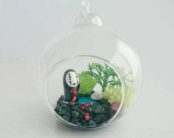 No face Spirited Away terrarium, hanging ornament, home decor display. Artificial terrarium. Handmade studio ghibli glass terrarium.