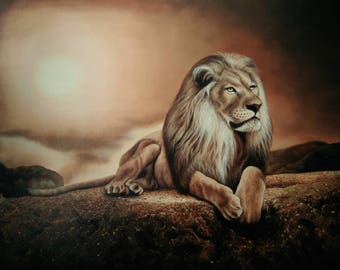Lion painting,oil painting of lion, Lion painting by Kampon