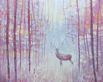 LARGE ORIGINAL Oil Painting - Frost King - a red deer in a frosty forest - art nouveau style
