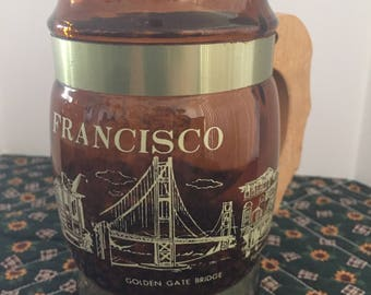 Vintage Souvenir Brown Glass Mug with Wooden Handle from San Francisco