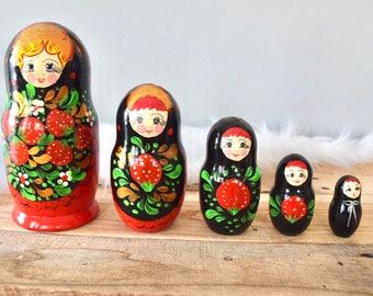 Vintage Wooden Strawberry Matryoshka Russian Nesting Dolls