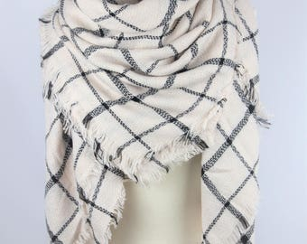 New Lady Blanket Oversized Tartan Scarf Wrap Shawl Plaid Green Multi Color - White  Checked