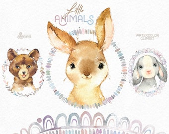 Little Animals. Watercolor clipart, bear, bunny, wreath, rabbit, frames, forest, cute, nice, country, nursery art, nature, realistic, sweet