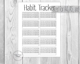Habit Tracker Printable, Monthly Habits, 30 day Habit Tracker, Planner Insert, Bullet Journal