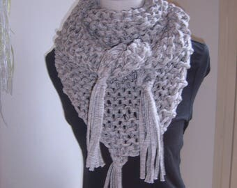 Trendy shawl beige mesh