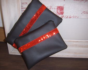 Set of 2 pouches in black and Red leatherette