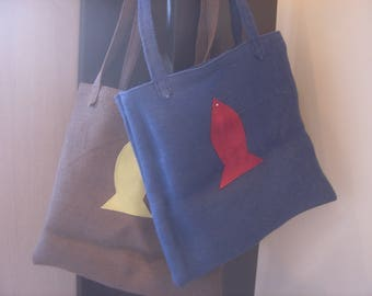 Tote bag with fish burlap