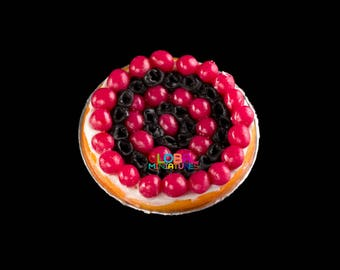 Dollhouse Miniatures Handcrafted Clay Red Cherry and Blackcurrant Cream Top Round Tart on Aluminum Dish - 1:12 Scale